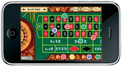 iPhone with Roulette on the screen